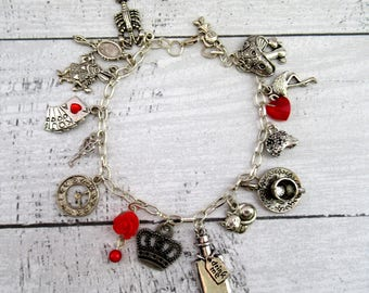 Alice in Wonderland Mad Hatter Queen of Hearts Themed Charm Bracelet