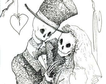 Skeleton art, skeleton wedding, Day of the Dead, skeleton bride, Giclee Print,  Gothic decor, Halloween decor, Steampunk decor