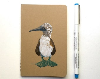 Bird Journal - Original Illustration of Blue Footed Booby- Moleskine Journal -  for Bird Lovers - for Travelers - for Writers