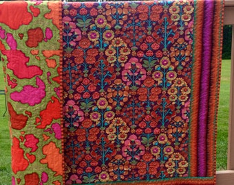 Hand quilted Lap quilt, throw quilt with Kaffe Fassett fabric, Flying Carpet quilt, bohemian decor, modern quilt