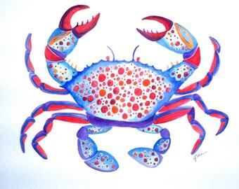Original Crab Watercolor Painting, Ocean Art, Crab Art, Nautical Art, Blue Crab Painting, Kids Art, Watercolor Crab, Crab Wall Decor