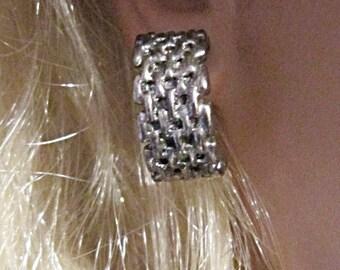 Vintage Silver Hoop Mesh Earrings