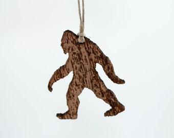 sasquatch christmas ornament laser cut walnut wood featuring bigfoot - Bigfoot Christmas Ornament