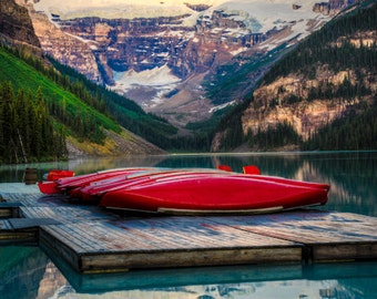 Lake Louise Photo, Banff Photography Banff National Park Red Canoes Jasper Mountain Reflections Wall Art can3
