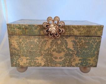 Blue Damask Decorative Box