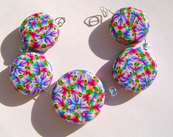 Dancing Artisan Polymer Clay Bead Set with Focal and 4 Beads