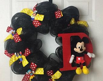 Disney Wreath, Disney Decor, Kid's Decor, Playroom Decor, Front Door Decor, Kid's Room Decor, Front Door Wreath, Mickey Mouse Decor