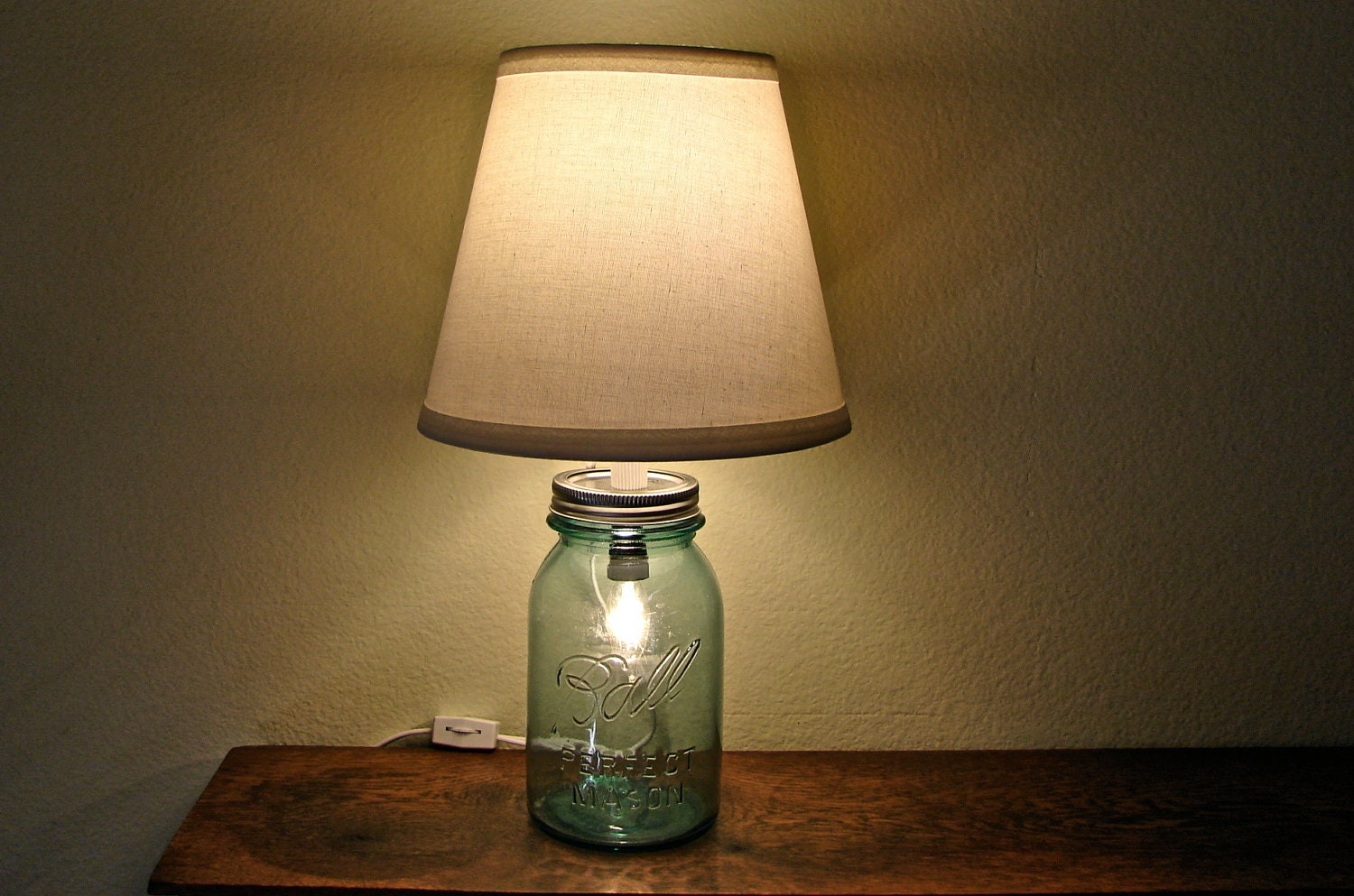 Discount vintage blue mason jar table lamp no shade two zoom arubaitofo Gallery
