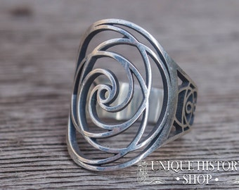 Golden Ratio Ring, Ring with Geometry Ornament, Handcrafted 925 Silver Ring, Unique Sacred Geometry Jewelry, Fibonacci Ring