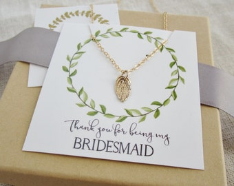 Gold leaf bridesmaid necklace, Thank you for being my Bridesmaid card, gold necklace, spring wedding jewelry bridesmaid jewelry message card