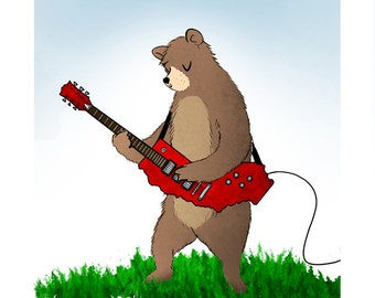 "I Love You, California! Grizzly Guitarist - 8""x8"" print"