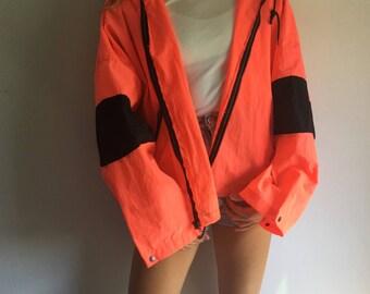 80s Neon Orange and Black Striped Windbreaker