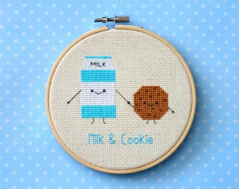 """Milk and Cookie cross stitch pattern: """"Cute kawaii milk carton and cookie"""" - cross stitch pdf pattern, food cross stitch - INSTANT DOWNLOAD"""