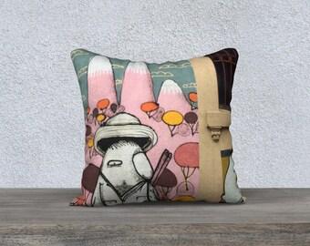 Street Art Cushion 'Bird with Pink Mountains'