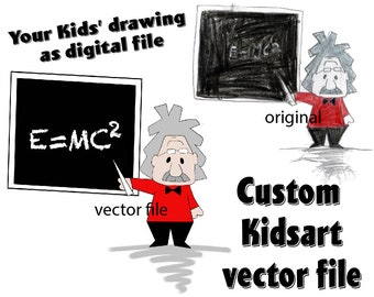 Custom Kids Artwork SVG Kids Art as Digital Vector File Kids Drawing Print File Kids Pencil Art Digitalized Custom Kids Art Illustrator File