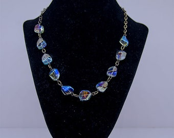 Smoky blue necklace with matching earrings
