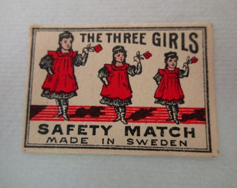 1910s antique matchbox paper - The Three Girls, unused, Sweden, Swedish, matches, labels