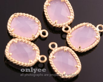 2pcs-13.5mmX9mmGold plated Brass Faceted Oval Framed glass pendants-IcePink(M350G-F)