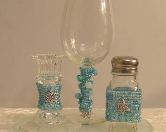 Aqua Blue Beaded Havdalah Set
