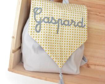 sac à dos, enfant, personnalisé, mixte, en tissus, jaune, gris, idée cadeau, enfant, bébé, maternelle
