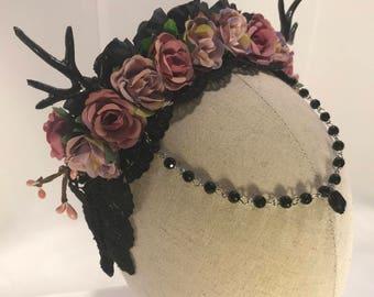Gothic goddess petite deer antler fantasy lace rose headband dark fairy horns lolita crystal woodland headdress