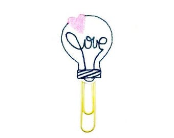 Light Bulb Planner Paper Clip - Felt Love. Romantic gifts. Glitter Planner accessories Bookmark. Novelty Felt Fridge Magnet Felt Brooch