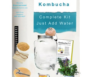 Complete Kombucha Starter Kit includes 2 Gallon Jar and Brewing Guide