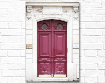 Paris Photography on Canvas - Wine-Colored Door, Gallery Wrapped Canvas, Large Wall Art, Architectural Urban Home Decor