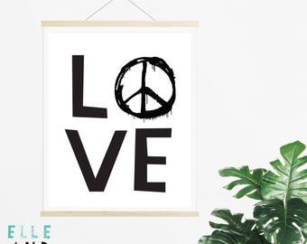 Peace & Love // Print // A4 // A5 // Home Decor // Modern // Monochrome // Nursery // Kids Bedroom // Typography //