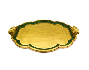 """Italian Florentine Gilt Wood Large 26"""" Handled Tray Made for Gumps"""