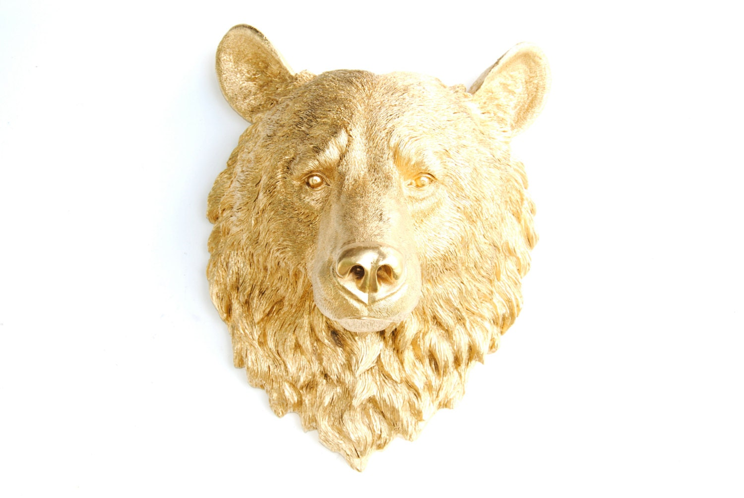 Bear Head Wall Mount Faux Taxidermy LARGE Metallic Gold