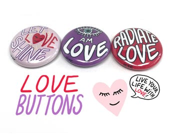 "LOVE BUTTONS <3 Three 1"" Buttons Metta Illustrated Shine Light Radiate Love Universal Energy Thelemic Magick BFF Gift Stocking Stuffer Badge"