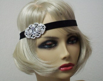 Black 1920s headband, Flapper headpiece, Gatsby headband, 1920s event, 1920s headpiece, Gatsby style, 1920s hair accessory, Roaring 20s