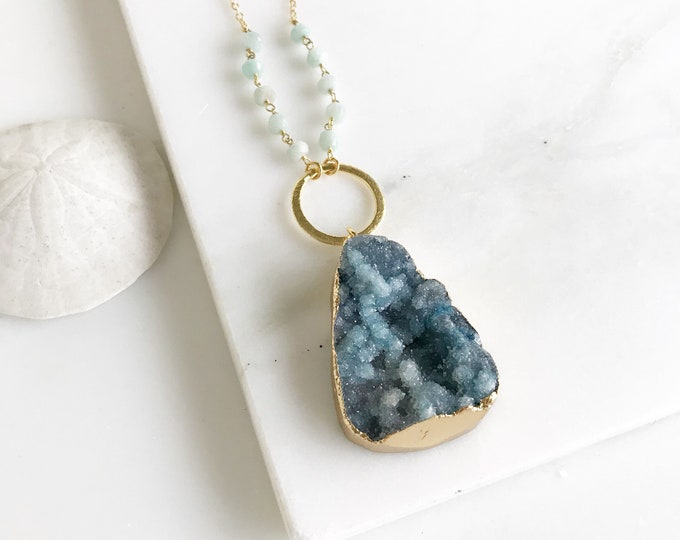 Long Teal Druzy Necklace. Teal Druzy and Amazonite Stone Necklace with Beaded Chain. Unique Jewelry Gift for Her. Gift. Druzy Quartz.