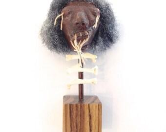 Shrunken Head Miniature - Handmade on display with real bones