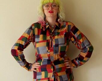 70s Nik Nik Italian Disco Party Geometric Squares Colorful Cotton Mens Button Up M