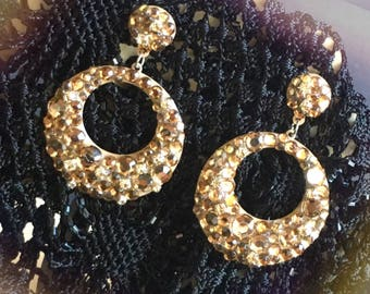 GOLD HOOP EARRINGS, golden rhinestone earrings, bridal earrings, gold dangle earrings, wedding jewelry, luxury earrings, bridesmaid earrings