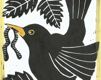 Blackbird linocut hand printed card