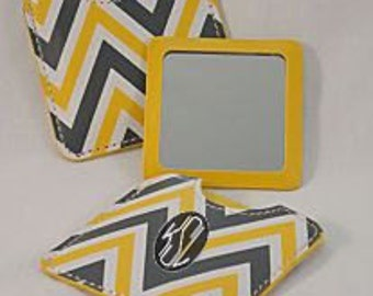 Pocket Mirror, Yellow Chevron Pattern, Personalized/Monogrammed - Foil Transfer