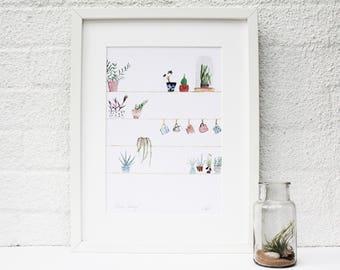 Home Print, Plant Print, Kitchen, Botanical illustration, Plant Decor, Botanical print, Home Decor, Succulent Print, Plant painting
