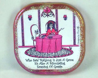 MAHJONG - Compact mirror, humor with Lulu, purse mirrors, pocket mirror, cat, funny sayings, girlfriend gifts, bridemaid gifts, by Sher