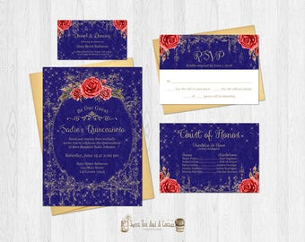 Beauty and the Beast Quinceanera Invitation Set with RSVP card court card and dance card vintage blue and gold princess fairytale bundle