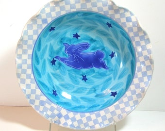 Rabbit and Stars Pottery Pasta Bowl with Blue Checkerboard Trim, Fruit Bowl, Salad Bowl