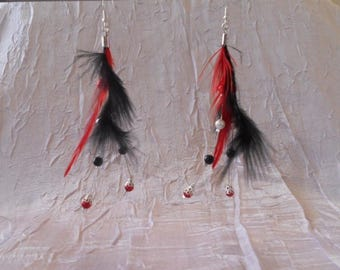Wedding feather earrings and black and red beads