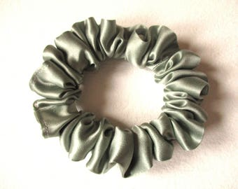 pale green satin hair scrunchie, dance gym accessory for women girl, handmade gift for her, skinny hair tie, 80s 90s party