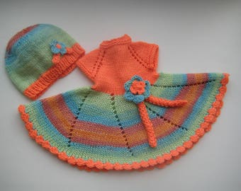 15-17 inch waldorf doll clothes dress, clothing set, hand knit Dress, hat.