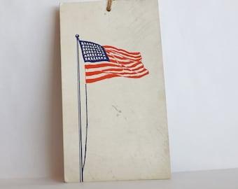 Antique bridge tally card 48 star flag