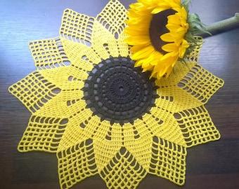 Sunflower hand made doily/Yellow doily/crochet doily
