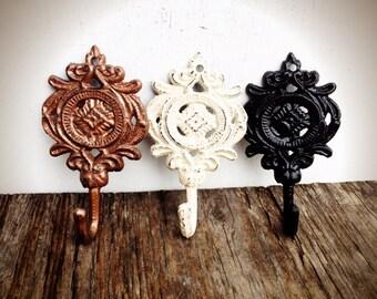 BOLD set of 3 ornate medallion wall hooks // metallic copper black & ivory white // towel coat hook // shabby cottage chic // rustic floral
