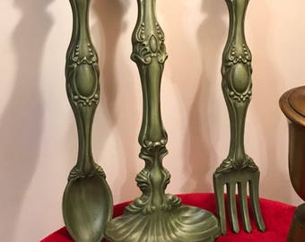Vintage ceramic spoon, fork, dipper